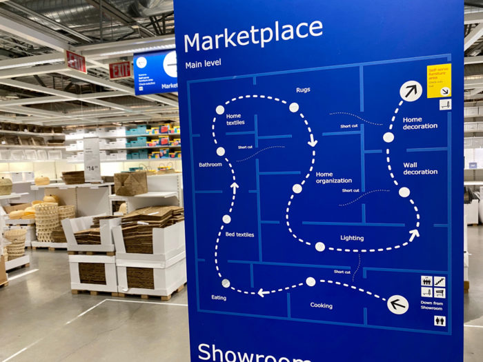 IKEA furniture marketplace showroom navigation map.